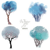 Winter trees Watercolor vector set of trees