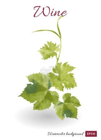 Illustration pour Aquarelle feuilles de vigne fond - image libre de droit