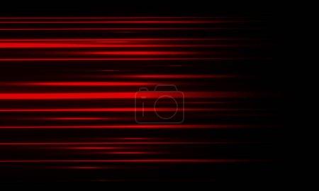 Illustration pour Lumière rouge abstraite mouvement à grande vitesse sur fond noir illustration vectorielle. - image libre de droit