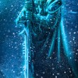 Illustration of ice warrior with a weapon....