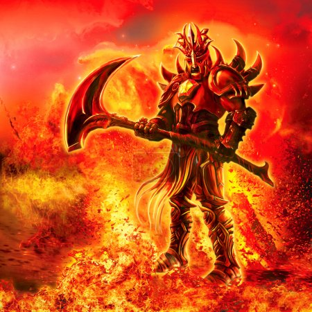 Illustration of a fiery warrior with a weapon