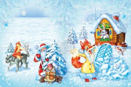 Photo pour Illustration des différents contes de fées avec un loup, renard, lièvre et Père Noël - image libre de droit