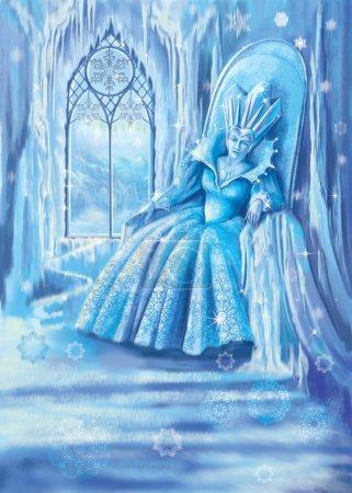 """Photo pour Illustration du conte de fées de Hans Andersen la """"Reine des Neiges"""" : la Reine des Neiges est assise sur un trône - image libre de droit"""
