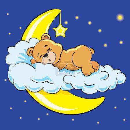 Illustration for A little bear sleeps on a cloud near a moon on a background star sky - Royalty Free Image