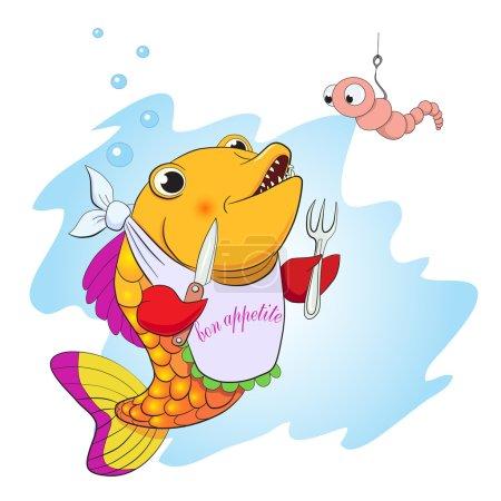 Cartoon fish eating worm