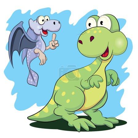 Illustration pour Deux petits dinosaures amusants. illustration vectorielle - image libre de droit