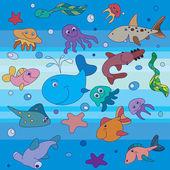 Cartoon set with sea life