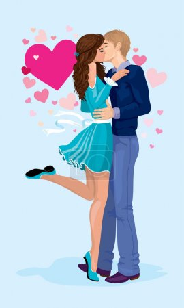 Illustration for Young falling in love  boy and girl kiss  on a background of hearts - Royalty Free Image