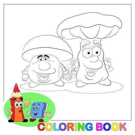 Two cartoon merry mushrooms