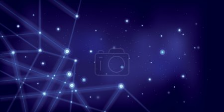 Illustration for Star sky with geometrical connections of stars on blue - Royalty Free Image