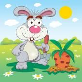 Kreslený králík s mrkví