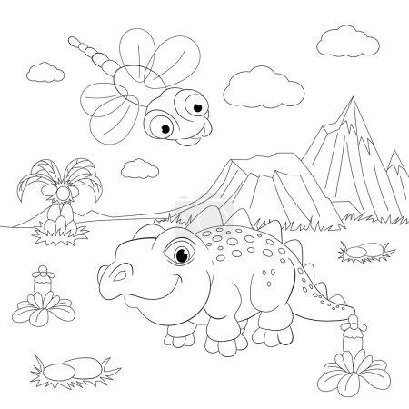 Funny dinosaur in prehistoric landscape.