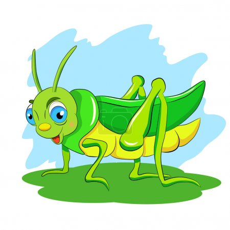 Illustration pour Cartoon drôle de sauterelle verte - image libre de droit