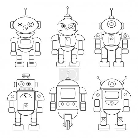 Set of cartoon robots