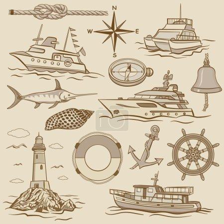 set of retro maritime elements