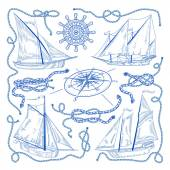 Nautical set of sketch elements