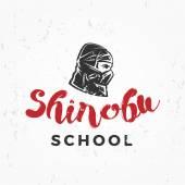Japanese Ninja school Logo Shinobu warrior insignia design Vintage mask badge Martial art Team t-shirt illustration concept on grunge background