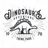 Vector dinosaur adventure logo concept Stegosaurus theme park insignia design Jurassic period illustration Vintage T-shirt badge on grunge background