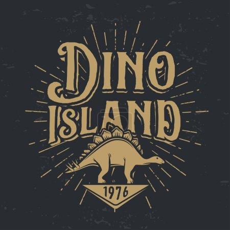 Vector dino island logo concept. Stegosaurus national park insignia design. Jurassic period illustration. Dinosaur Vintage T-shirt badge on dark background
