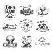 Big Dinosaur Vector Logo Set Triceratops t-shirt illustration concept Raptors security insignia design template Vintage Jurassic Period labels Theme park badges