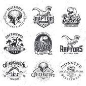 Set of Dino Logos T-rex skull t-shirt illustration concept on grunge background Raptors sport team insignia design Vintage Jurassic Period badge