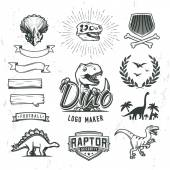 Dino logo maker set Dinosaur logotype creator Vector T-rex banner template Jurassic period laurel crest illustration Shield insignia concept design Cretaceous world badge or label collection