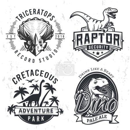 Set of Dino Logos. Raptor t-shirt illustration concept on grunge background. T-rex beer label design. Vintage Jurassic Period badge.