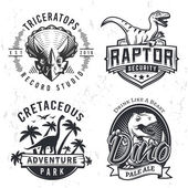 Set of Dino Logos Raptor t-shirt illustration concept on grunge background T-rex beer label design Vintage Jurassic Period badge