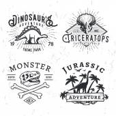 Set of Dino Logos T-rex skull t-shirt illustration concept on grunge background stegosaurus adventure park insignia design Vintage Jurassic Period badge collection