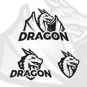 Dragons sport mascot College league insignia Dragon school team vector illustration