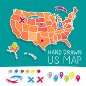 Kézzel rajzolt minket Térkép vektoros illusztráció