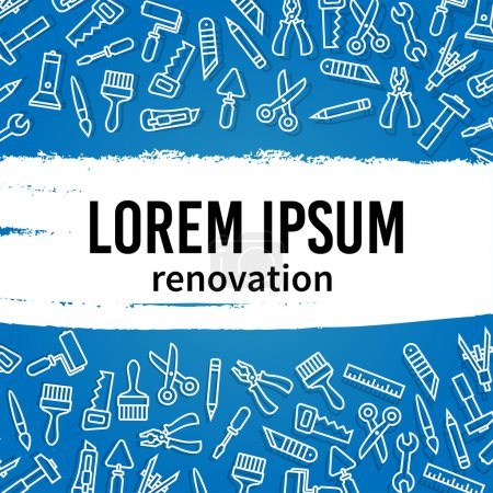Illustration for Linear renovation tools vector illustration with text - Royalty Free Image