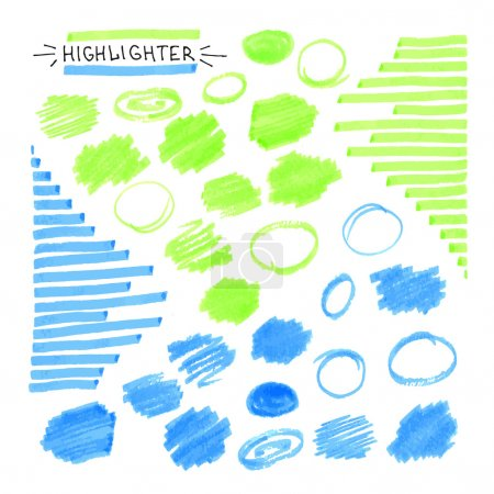 Set of blue and green fluorescent highlighter marks