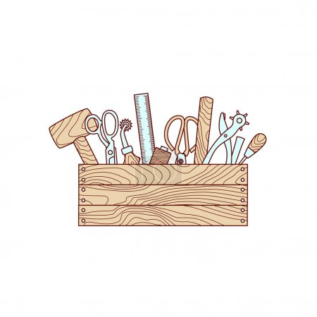 Craft tools in toolbox vector illustration