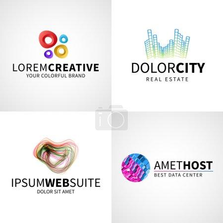 Set of modern colorful abstract creative web host data logo emblem vector design elements