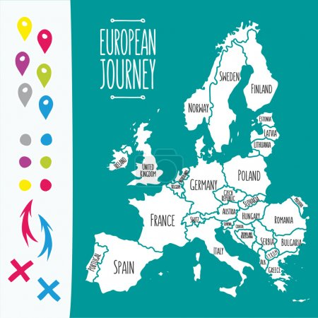 Illustration for Vintage Hand drawn Europe travel map with pins vector  illustration - Royalty Free Image
