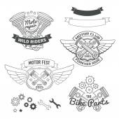 Set of biker vintage labels oldschool motor logo vector design elements