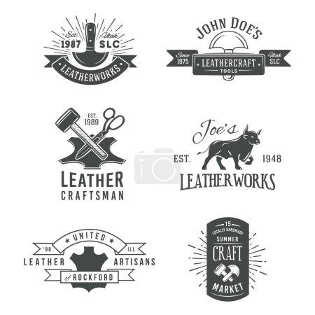 First set of grey vector vintage craft logo designs, retro genuine leather tool labels. artisans market insignia illustration