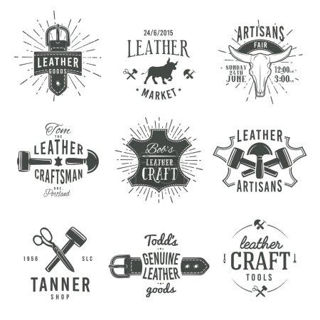 Second set of grey vector vintage craftsman logo designs, retro genuine leather tool labels. artisan craft market insignia illustration