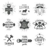 Second set of grey vector vintage craftsman logo designs retro genuine leather tool labels artisan craft market insignia illustration