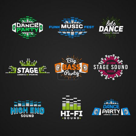 Sixth set music equalizer emblem vector on dark background. Modern colorful logo collection. Sound system illustration