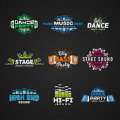 Sixth set music equalizer emblem vector on dark background Modern colorful logo collection Sound system illustration