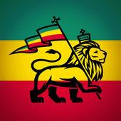 Judah lion with a rastafari flag King of Zion logo illustration Reggae music vector design