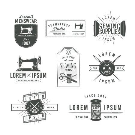 Set of vintage tailor labels, emblems and design elements. Tailor shop logo vector. sewing stodio illustration