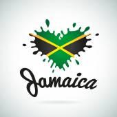 Love Jamaica lettering Heart illustration carribean music logo design African flag print
