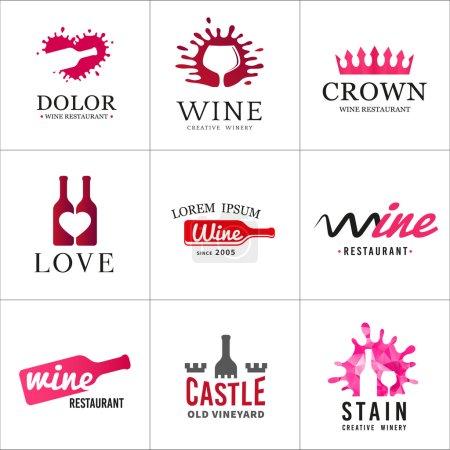 Illustration pour Ensemble de bouteille de vin logo en verre. Design original d'enseigne de cave. Eléments vectoriels vieux vignoble - image libre de droit
