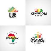 Set of african rastafari sound vector logo designs Jamaica reggae music template Colorful dub concept