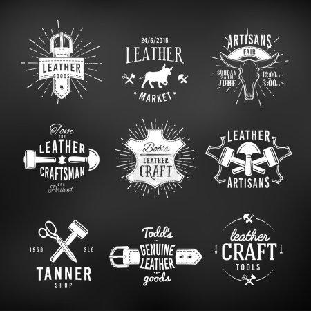 Set of leather craft logo designs, retro genuine vintage tool labels. artisans market insignia vector illustration on dark background
