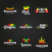 Set of africa flag logo design. Jamaica music vector template. Colorful dub time company concept on dark background