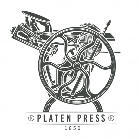 Illustration vectorielle de Platen press. Création de logo typographie ancienne. Machine d'impression Vintage